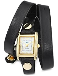 La Mer Collections Womens LMWTW1035 Gold-Tone Watch with Black Leather Wrap-Around Band