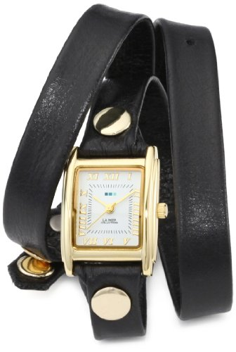 - La Mer Collections Women's LMWTW1035 Gold-Tone Watch with Black Leather Wrap-Around Band