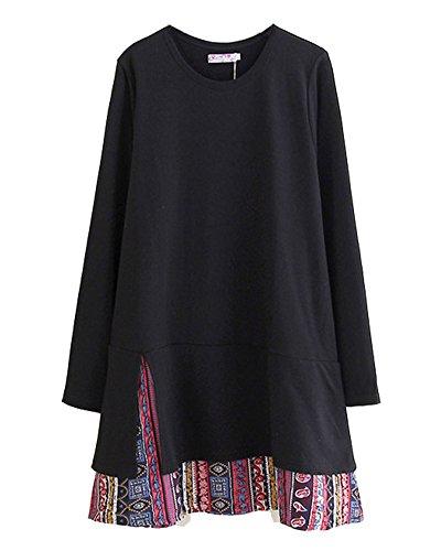 HOOBEE LINEN Women's Long Sleeve Double-Layered Hem Printed Shirt Tunic Top