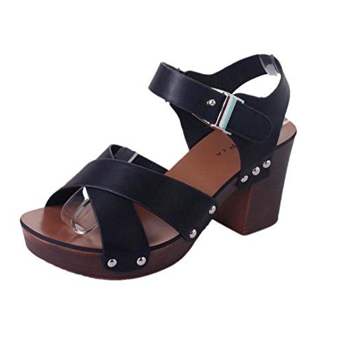 Winwintom mujer moda sandalias bombas Zapatos de tacones altos zapatos femeninos Negro
