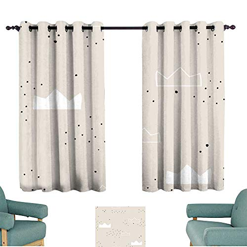 (Bedroom windproof curtain Seamless pattern with hand drawn crowns Creative tender modern texture for fabric wrapping textile wallpaper apparel Vector illustration Darkening and Thermal Insulating )