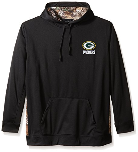 (Dunbrooke Apparel NFL Green Bay Packers Men's 5436.0Ranger Camo Accent Tech Hoody, Black with Camo, X-Large)