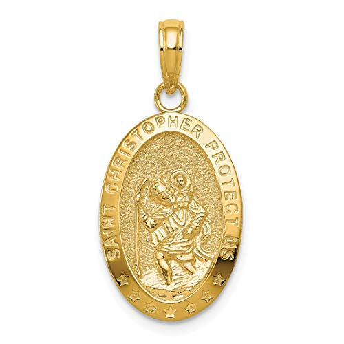 14k Yellow Gold Saint Christopher Medal Pendant Charm Necklace Religious Patron St Fine Jewelry For Women Gift Set