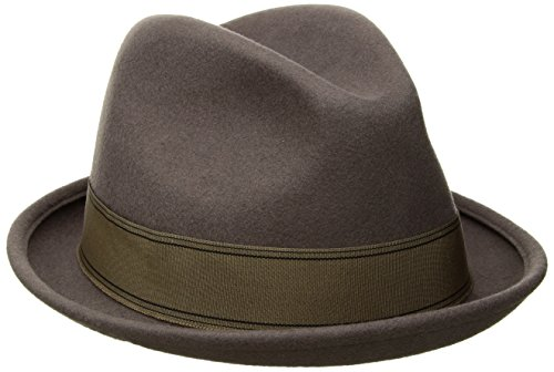 Brixton Men's Gain Short Brim Felt Fedora Hat, Grey/Gold, XL