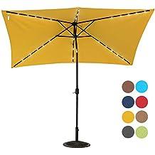 Sundale Outdoor Rectangular Solar Powered 26 LED Lighted Patio Umbrella Table Market Umbrella with Crank and Push Button Tilt for Garden, Deck, Backyard, Pool, 6 Alu. Ribs, 9 by 6.5-Feet (Yellow)