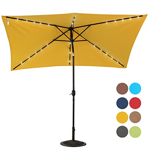 Sundale Outdoor Rectangular Solar Powered 26 LED Lighted Patio Umbrella Table Market Umbrella with Crank and Push Button Tilt for Garden, Deck, Backyard, Pool, 6 Alu. Ribs, 9 by 6.5-Feet (Yellow) (Patio In)