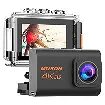 【新型】MUSON(ムソン) アクションカメラ 4K高画質 2000万画素 手振れ補正 WiFi搭載 外部マイク対応 30M防水 自撮り棒付き 1200mAhバッテリー2個 [メーカー1年保証] 170度広角レンズ リモコン付き 2インチ液晶画面 HDMI出力 ドライブレコーダーとして使用可能 水中カメラ 防犯カメラ スポーツカメラ ウェアラブルカメラ Pro3 ブラック
