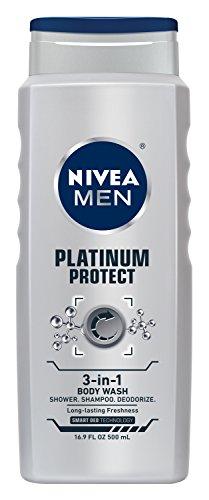 NIVEA MEN Platinum protéger 3-en-1 pour désodoriser les corps douche Gel nettoyant 3-en-1, 16,9 oz bouteille