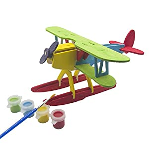 Miscy 3d Puzzle Wooden Plane Art Projects Craft Wood 3d Puzzles for Kids Adults Wood Model Kits Airplanes Assemble Paint DIY Toy Hydropplane