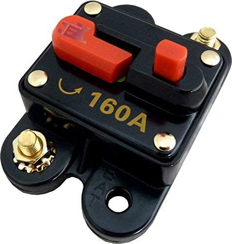 Jex Electronics 160 Amp in-Line Circuit Breaker Stereo//Audio//Car//RV 160A//160AMP Fuse 12V//24V//32V