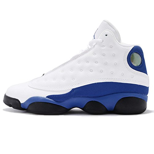 NIKE Jordan Kid's Air 13 Retro BG, White/Hyper Royal-Black, Youth Size 6 by Jordan