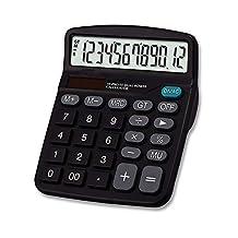 Electronic Solar Calculator Desktop 12 Digits Large Display Black