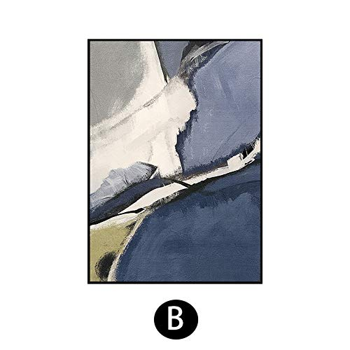 ainted Oil Paintings Hand-Painted Oil Painting Abstract Bluestone Cloud Modern Light Luxury Living Room Sofa Background Wall Decoration Painting Corridor Painting,30×50Cm ()