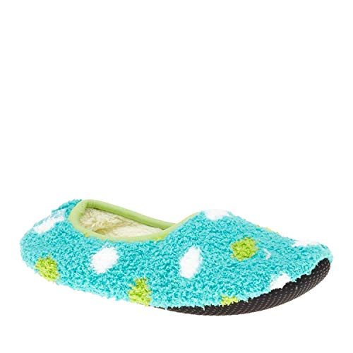 Dot Socks Fuzzy (Super Soft Cozy Slippers with Slip-Resistant Bottom Sole (Medium (Womens 7.5-9), Turquoise with Green and White Dots))