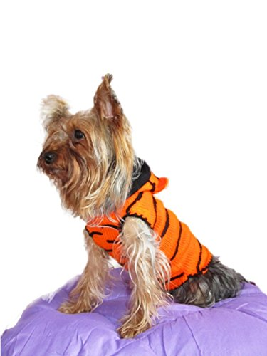 Tiger Dog Sweater Costume Teacup Dog Clothes Small Yorkie Chihuahua Puppy Hoodie Apparel Sizes (XXXS
