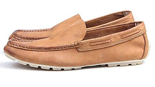 Happyshop Tm Hombres Moccasin Comfort Slip 0n Mocasines De Cuero Para Zapatos Zapato Marrón Claro