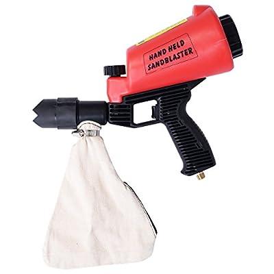 Chonlakrit Air Hand Held SandBlaster Gun Gravity Feed Sand Blaster Lightweight w/ 4 Nozzle