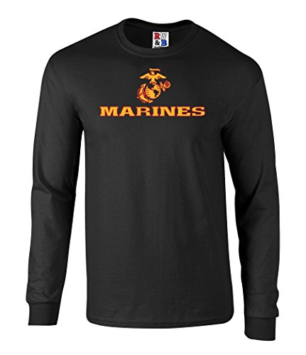 US Marines Two Tone Logo Graphic Long Sleeve Officially Licensed T Shirt black (Marine Corp Tattoo)
