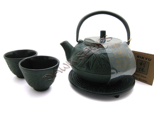 Green Bamboo Cast Iron Tetsubin Tea Pot Kettle Set