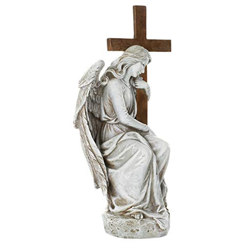 Garden Figurine-Seated Female Angel W/Cross (13 ) (Jan)