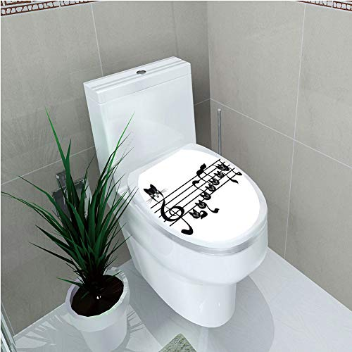 Toilet Cover Sticker 3D Printing,Music Decor,Notes Kittens Kitty Cat Artwork Notation Tune Children Halloween Stylized,for You -