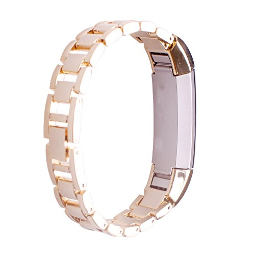 AUTRUN rrx-731  Newest Premium Replacement Accessory Metal Watch Bands Bracelet Strap For Fitbit Alta, No Tracker, Style A, Gold)