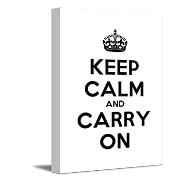 Canvas Wall Art Gallery Wrap Canvas Prints - Keep Calm and Carry On | Stretched White Canvas Home Art Ready to Hang - 24
