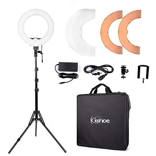 (Kshioe 14'' Outer 12'' Inner Dimmable Led Ring Light, Continuous Lighting Kit Photography Photo Studio Light for Makeup, Camera Smartphone YouTube Video Shooting (12'' Basic Light (with Stand)))