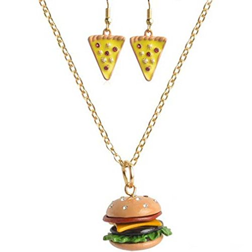 MJARTORIA Gold Color Hamburger Pizza Pendant Necklaces Dangling Earring Jewelry Set