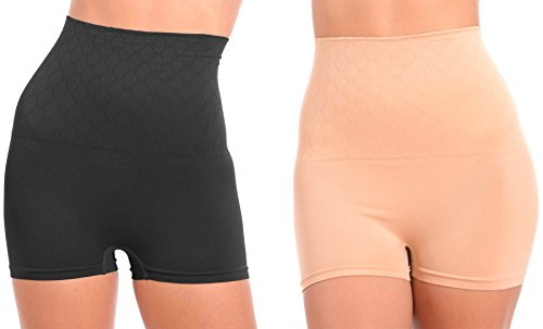 WunderWear Women's 2 Pack Seamless Firm Control Compression Hi-Waist Boy Shorts (Nude, Black, 3X)
