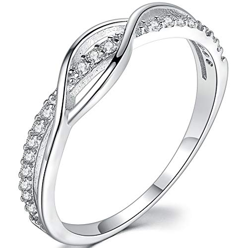 925 Sterling Silver Wave Braided Knot Wedding Engagement Promise Anniversary Ring (Silver, 9) ()