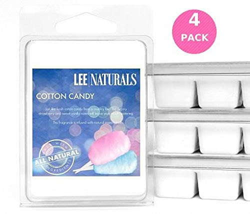 Lee Naturals Classic Collection - (4 Pack) COTTON CANDY Premium All Natural 6-Piece Soy Wax Melts. Hand Poured Naturally Strong Scented Soy Wax Candle Cubes ()