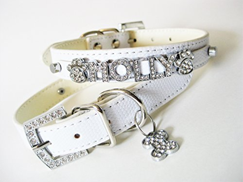 Rhinestone Dog Collar | Bling Dog Collar | Presonalized Dog Collar | The Pastels | XS S M or L (XS w/leash, White Snake) ()