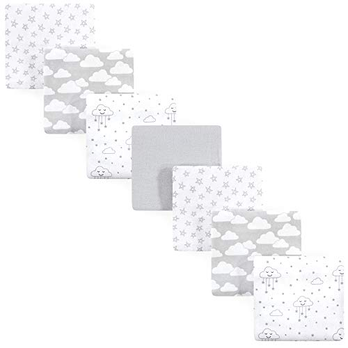 Hudson Baby Unisex Baby Cotton Flannel Receiving Blankets Bundle, Gray Clouds, One Size