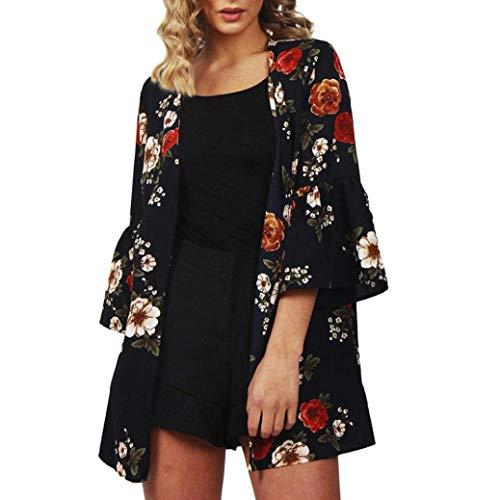 Puffed Sleeve Cardigan - Todaies Women Blouse Cardigans, Women Open Front Cardigan Casual Flower Print Light Chiffon 3/4 Sleeve Tops