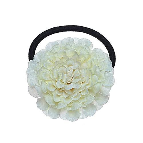 vegan 3D Cloth Flower Ponytail Holder,Women Girls Kids Gradient Color LayerHair Rope (Flower Nylon Decor)
