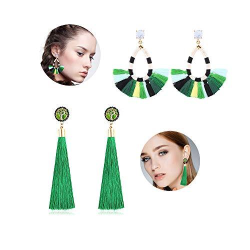 Women's Beaded Tassel Earrings Long Fringe Drop Bohemian Earings Dangle 7 Colors (Color green Tree green)