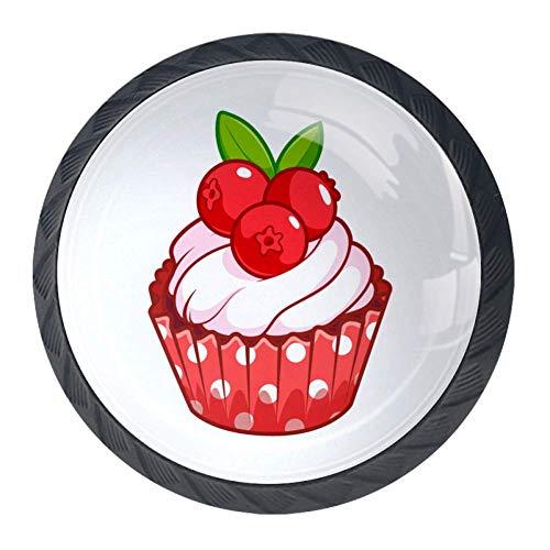 DJROW Cupcake with Cranberry 4 Pcs Cabinet Knobs 30mm Drawer Kitchen Cabinets Dresser Cupboard Wardrobe Unique Pulls -