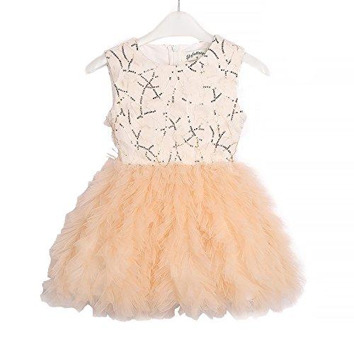 (Flofallzique Tutu Flower Girls Dress Sequined Black Special Dress for Toddler Girls Baby Girls Clothes(4,)