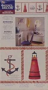 Nautical Stencil Decor, Ships, Lighthouses, Anchors