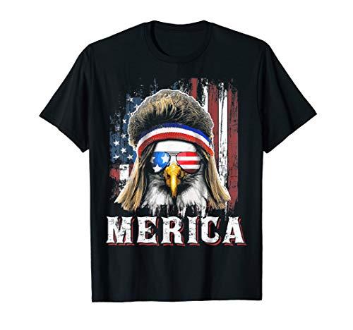 Merica Eagle Mullet Shirt 4th of July American Flag Shirt