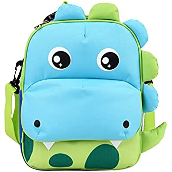 Yodo 3-Way Convertible Playful Insulated Kids Lunch Boxes Carry Bag / Preschool Toddler Backpack for Boys Girls, with Quick Access front Pouch for Snacks, Dinosaur
