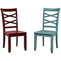 HOMES: Inside + Out IDF-3528RB-SC Zensa Side Chair Blue and Red (Set of 2), Red And Blue