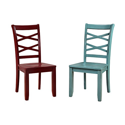 HOMES Inside Out IDF-3528RB-SC Blue and Red Zensa Side Chair Set of 2 Red Blue