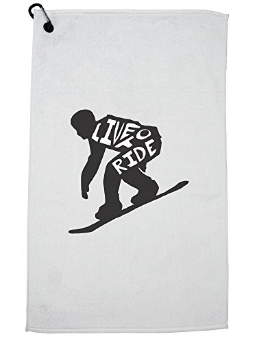 Hollywood Thread Trendy Snowboard Live to Ride Silhouette Skiing Golf Towel with Carabiner Clip