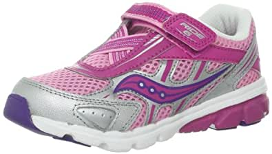 Saucony Girls Baby Ride 6 Running Shoe (Toddler/Little Kid),Pink/Purple/Silver,4 XW US Toddler