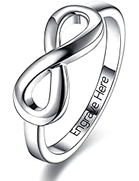 Personalized Free Engrave Infinity BFF Friendship Rings Sisters Gift Mothers Rings Custom Silver Name Rings