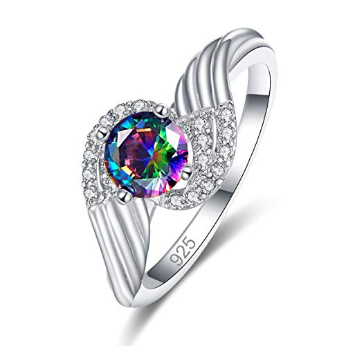 Humasol 925 Sterling Silver Filled Lab-Created Rainbow Topaz Promise Proposal Engagement Wedding Rings for Women Girl Size - Sterling 7x5 Emerald