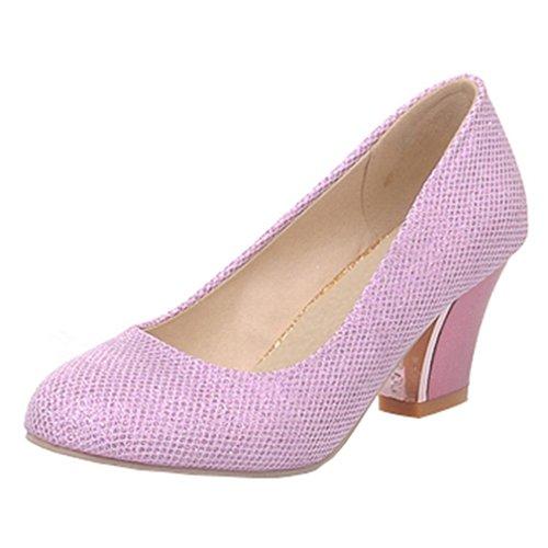 YE Damen Chunky Heels Glitzer Pumps Geschlossene High Heels mit Blockabsatz 6cm Bequem Schuhe Lila