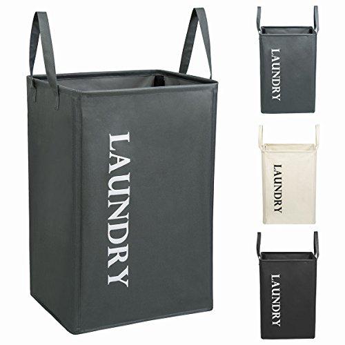 WISHPOOL Large Standing Laundry Hamper Bag Basket with Handles Grey Deal (Large Image)